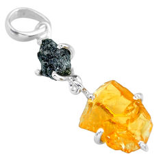 925 sterling silver 8.80cts natural diamond rough citrine raw pendant r91896