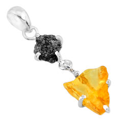 925 sterling silver 8.15cts natural diamond rough citrine raw pendant r91899