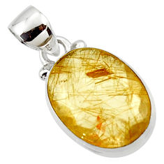 925 sterling silver 9.22cts natural faceted golden rutile oval pendant r50684