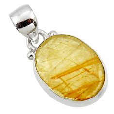 925 sterling silver 8.18cts natural faceted golden rutile oval pendant r50687