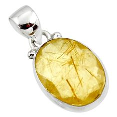 925 sterling silver 9.22cts natural faceted golden rutile oval pendant r50690