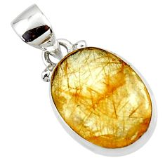 925 sterling silver 8.68cts natural faceted golden rutile oval pendant r50693