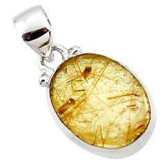 925 sterling silver 8.15cts natural faceted golden rutile oval pendant r50695
