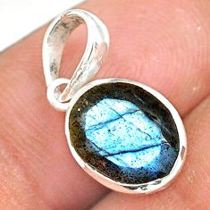 925 sterling silver 4.09cts natural faceted labradorite oval pendant r82677