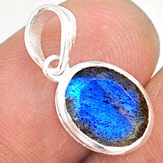 925 sterling silver 4.16cts natural faceted labradorite oval pendant r82704