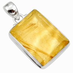 925 sterling silver 29.78cts natural golden rutile octagan pendant d41640