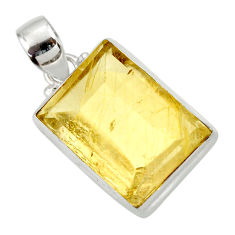 925 sterling silver 18.70cts natural golden rutile pendant jewelry d41630