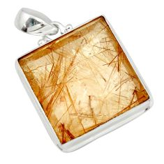 925 sterling silver 43.90cts natural golden rutile pendant jewelry d41656