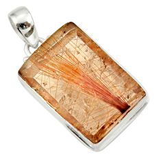 925 sterling silver 36.04cts natural golden rutile pendant jewelry d41659