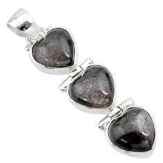925 sterling silver 13.53cts 3 hearts golden sheen black obsidian pendant t22199