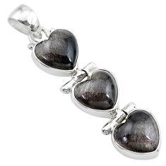 925 sterling silver 13.55cts 3 hearts golden sheen black obsidian pendant t22204