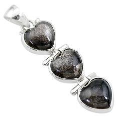 925 sterling silver 14.07cts 3 hearts golden sheen black obsidian pendant t22213