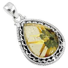 925 sterling silver 14.98cts natural golden star rutilated quartz pendant r60219