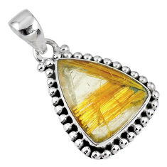 925 sterling silver 12.06cts natural golden star rutilated quartz pendant r60234