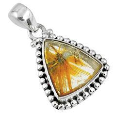 925 sterling silver 9.61cts natural golden star rutilated quartz pendant r60252