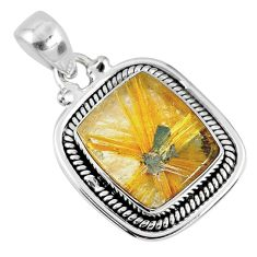 925 sterling silver 11.21cts natural golden star rutilated quartz pendant r60273
