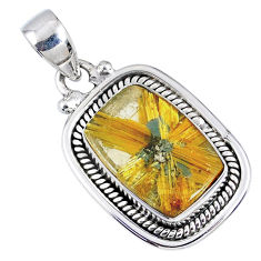 925 sterling silver 6.84cts natural golden star rutilated quartz pendant r60280
