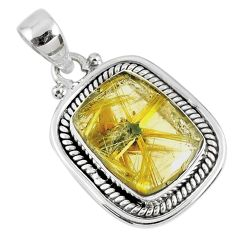 925 sterling silver 10.57cts natural golden star rutilated quartz pendant r60409