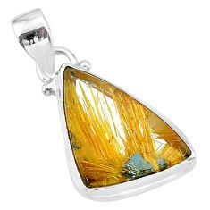925 sterling silver 13.15cts natural golden star rutilated quartz pendant t39454