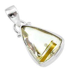 925 sterling silver 11.20cts natural golden star rutilated quartz pendant t39475
