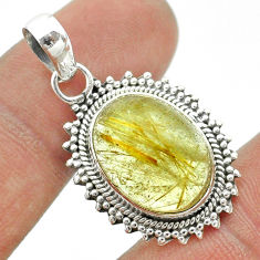 925 sterling silver 9.97cts natural golden tourmaline rutile oval pendant t53268