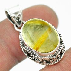 925 sterling silver 7.51cts natural golden tourmaline rutile oval pendant t53270