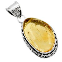 925 sterling silver 18.17cts natural golden tourmaline rutile pendant d45412