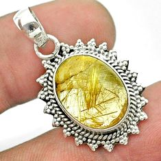 925 sterling silver 7.97cts natural golden tourmaline rutile pendant t56033