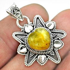 925 sterling silver 5.34cts natural golden tourmaline rutile pendant t56072