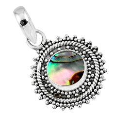 925 sterling silver 2.57cts natural green abalone paua seashell pendant r57667