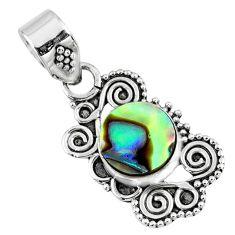 925 sterling silver 2.60cts natural green abalone paua seashell pendant r57723