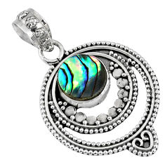 925 sterling silver 3.05cts natural green abalone paua seashell pendant r57727