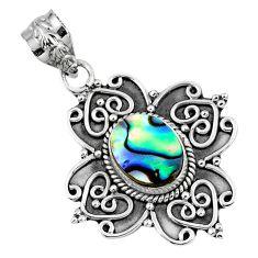 925 sterling silver 2.56cts natural green abalone paua seashell pendant r57764