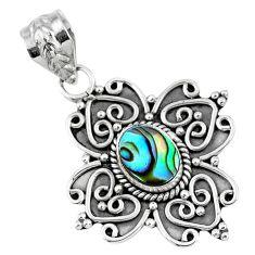 925 sterling silver 3.35cts natural green abalone paua seashell pendant r57794