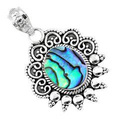 925 sterling silver 3.93cts natural green abalone paua seashell pendant r57804