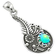 925 sterling silver 1.88cts natural green abalone paua seashell pendant r67612