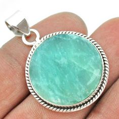 925 sterling silver 15.72cts natural green amazonite (hope stone) pendant t53466