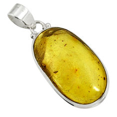 Clearance Sale- 925 sterling silver 16.03cts natural green amber from colombia pendant d41277