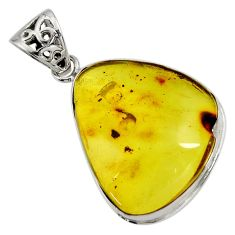 Clearance Sale- 925 sterling silver 16.06cts natural green amber from colombia pendant d41318