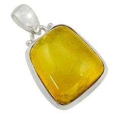925 sterling silver 12.22cts natural green amber from colombia pendant r41877