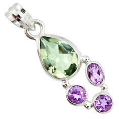 925 sterling silver 8.80cts natural green amethyst amethyst pendant r20344