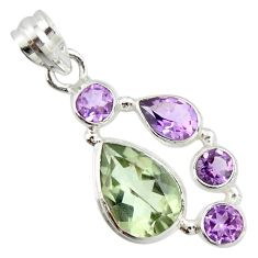 925 sterling silver 10.24cts natural green amethyst amethyst pendant r20346
