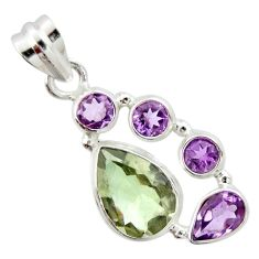 925 sterling silver 9.94cts natural green amethyst pear amethyst pendant r20356