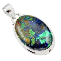 925 sterling silver 17.57cts natural green azurite malachite oval pendant r33874