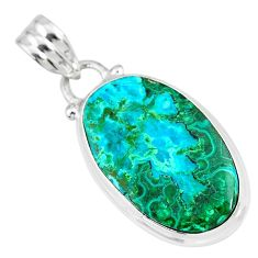 925 sterling silver 11.17cts natural green azurite malachite oval pendant r83336