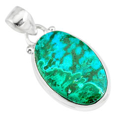 925 sterling silver 13.12cts natural green azurite malachite oval pendant r83339