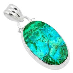 925 sterling silver 12.07cts natural green azurite malachite oval pendant r83348