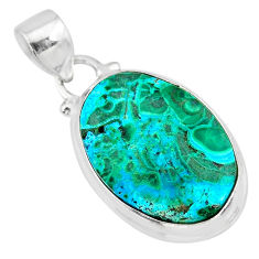 925 sterling silver 11.17cts natural green azurite malachite oval pendant r83356