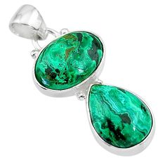 925 sterling silver 10.41cts natural green azurite malachite oval pendant t21456