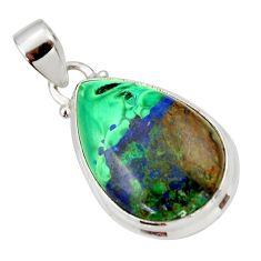 925 sterling silver 17.57cts natural green azurite malachite pear pendant r33878